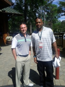 Former NBA All-Star Nick Van Exel (R) w/ VIP at the Masters